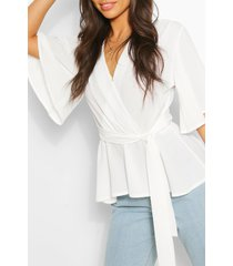 frill sleeve blouse, ivory