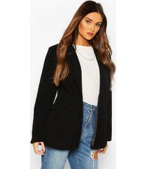 luxe brushed wool look oversized blazer coat, black