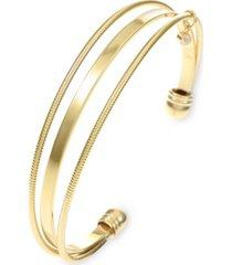 inc gold-tone crystal charm triple-row cuff bracelet, created for macy's