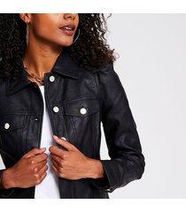 river island womens black faux leather puff sleeve jacket