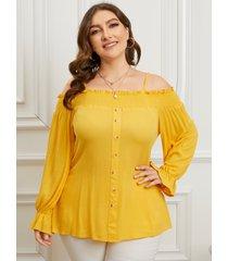 blusa de manga larga con botones frontales fruncidos con hombros descubiertos y talla grande yoins
