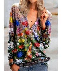 camicetta a maniche lunghe vintage con scollo a v con stampa floreale per donna