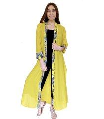 kimono largo amarillo aplicación natalia seguel
