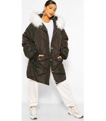 plus middellange gewatteerde jas met faux fur capuchon, black