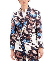 inc men's watson abstract printed slim fit blazer, created for macy's