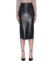 latex knee length skirt