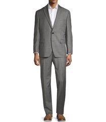 lauren ralph lauren men's classic fit windowpane plaid wool-blend suit - grey - size 38 r