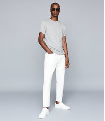 reiss drummand - brushed cotton five-pocket trousers in white, mens, size 38