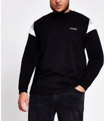 river island mens big and tall black block sweatshirt