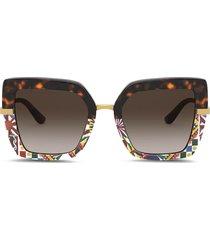 dolce & gabbana eyewear printed square-frame sunglasses - brown