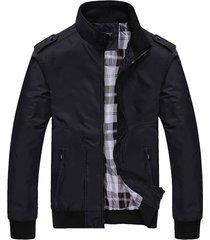 chaquetas hombre casuales ajustada cuello alto 728 negro