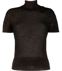 dolce & gabbana open-knit glitter embellished top - black