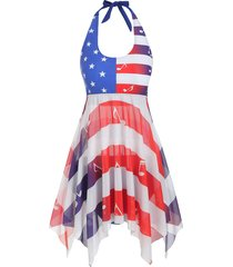 american flag musical note mesh halter tankini swimsuit