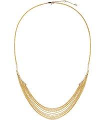 eclipse 14k gold, diamond & white sapphire statement chain necklace