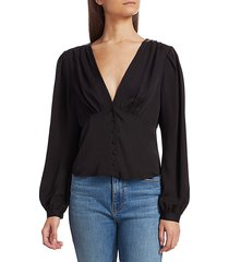 frame women's empire pleat silk top - noir - size l