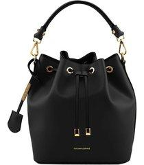 tuscany leather tl141531 vittoria - borsa secchiello da donna in pelle nero