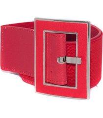 cinturon elastico hebilla forrada rojo mailea