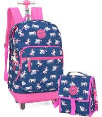 kit mochila de rodinha feminina 360 e lancheira unicornio up4you luxcel 51267 azul - azul - feminino - dafiti