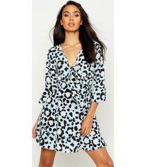 luipaardprint jurk met strik, blauw