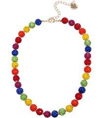 "betsey johnson rainbow stone fireball collar necklace in gold-tone metal, 16"" + 3"" extender"