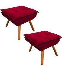 kit 02 puff decorativo  d'rossi opala suede vermelho