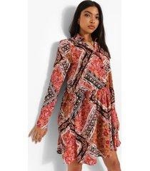 tall bloemen blouse jurk met puntige zoom, multi