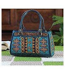 cotton handle handbag, 'teal sultanate' (indonesia)