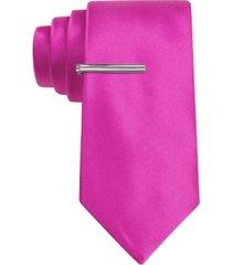 van heusen men's skinny solid tie with tie bar