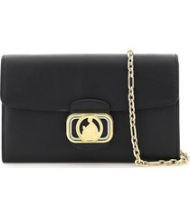 lanvin swan chain wallet leather clutch