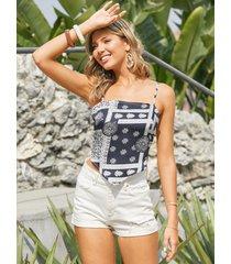 camiseta sin mangas con diseño de lazo sin espalda con estampado de bufanda yoins