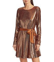 ramy brook women's hallie sequin mini dress - copper - size s
