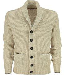 brunello cucinelli cotton and linen malfilé yarn half english rib cardigan