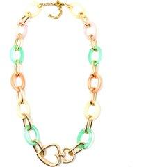 colar colorido com dourado - multicolorido - feminino - dafiti