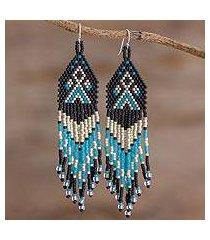 beaded waterfall earrings, 'peaks and valleys in black' (el salvador)