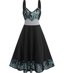 colorblock lace insert cami mid calf dress