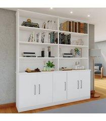 estante para livros 5 portas 8 prateleiras branco 1276 - foscarini