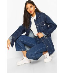 tall oversized jean jacket, dark blue