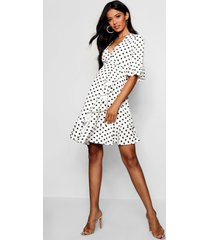maternity spot frill wrap dress, white