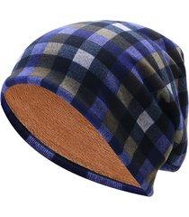 unisex beanie in cotone morbido a maglia di velluto pesante a scacchi doppio uso sciarpa bonnet