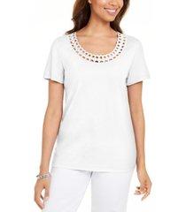 karen scott cotton scalloped-neck t-shirt, created for macy's
