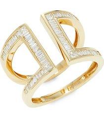 14k yellow gold & baguette diamond cutout ring
