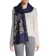 saachi women's floral reversible scarf - navy
