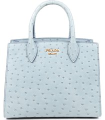 prada bibliotheque marine blue ostrich skin satchel bag blue sz: m