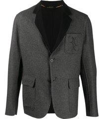 billionaire logo embroidered cashmere blazer - grey
