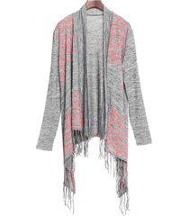 stylish collarless long sleeve asymmetrical fringed women's cardigan