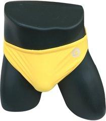 "yellow bullseye gear mens lycra swim brief, 2"" sides - s, m, l - speedo style"