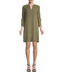 deandra bell-sleeve silk dress