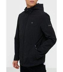 calvin klein crinkle nylon hooded windcheater jackor black