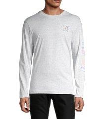 hurley men's electric logo t-shirt - grey - size l