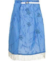 marine serre bead-embellished wraparound skirt - blue